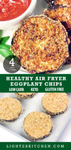 Pinterest Picture of uncooked Eggplant Chips with air fried Eggplant Chips
