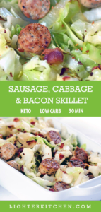 Up close picture of cabbage and sausage with bacon. Served in a large white dish.