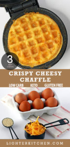 Picture of a cooked chaffle on a waffle iron in addition to the 3 ingredients needed to make the recipe.