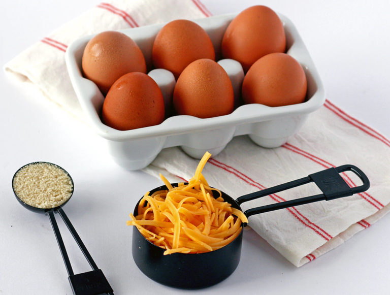 Picture of Chaffle Recipe ingredients including eggs, cheese and coconut flour
