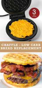 Picture of a cooked chaffle on a waffle iron plus a hamburger using the chaffle.