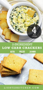 Keto Spinach Dip in a white bowl with keto crackers,